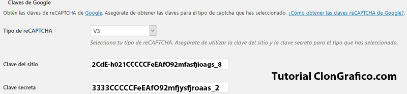 Claves recaptcha anadir a wordpress