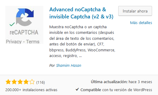 Instalar Plugin Recaptcha Advanced Nocaptcha Invisible Captcha v2 v3